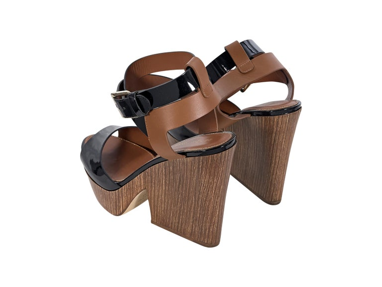 Sergio Rossi Black & Brown Leather Sandals In Good Condition For Sale In New York, NY