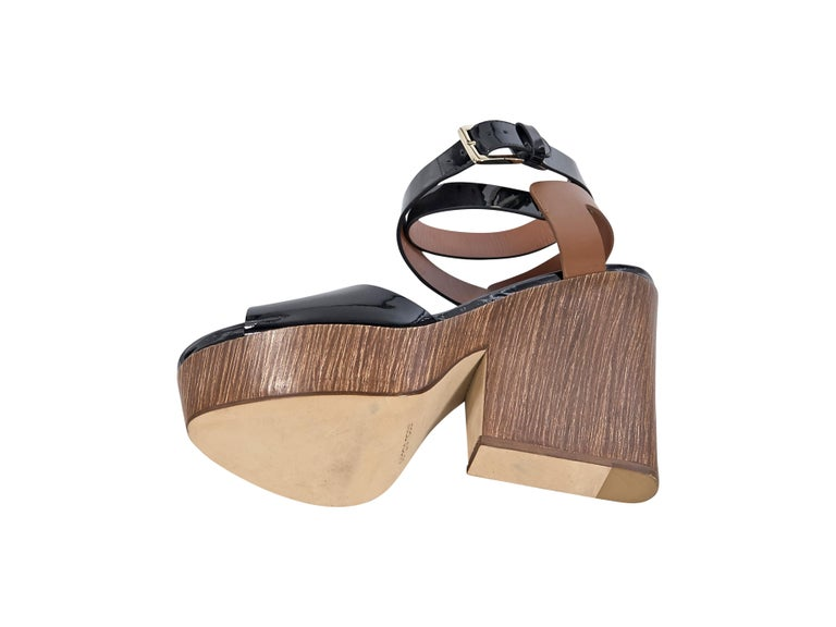 Women's Sergio Rossi Black & Brown Leather Sandals For Sale