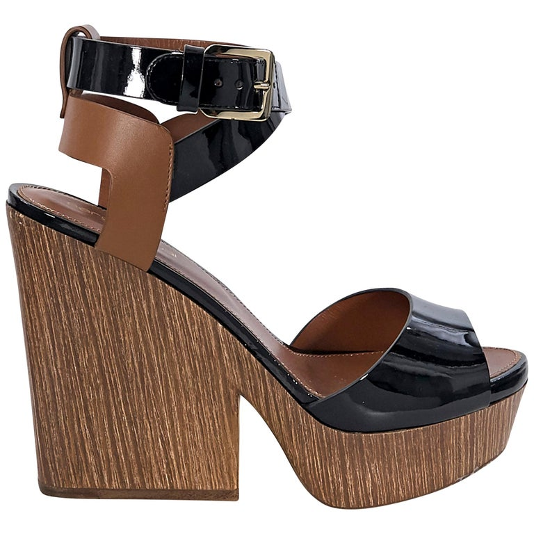 Sergio Rossi Black & Brown Leather Sandals For Sale