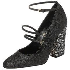 Sergio Rossi Black Glitter Betty Mary Jane Pumps Size 36