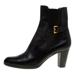 Sergio Rossi Black Leather Ankle Boots Size 40