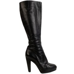 Sergio Rossi Black Leather Heeled Boots Shoes Size 38.5
