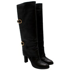 Sergio Rossi Black Leather Heeled Knee Boots 41