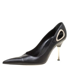 Sergio Rossi Black Leather Pointed Toe Pumps Size 40
