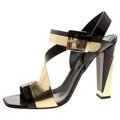 Sergio Rossi Black Patent And Metallic Gold Leather Zed Peep Toe Sandals Size 40