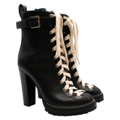 Sergio Rossi Black Platform Lace-Up Ankle Boots 39
