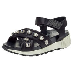 Sergio Rossi Black Satin Embellished Criss Cross Flat Sandals Size 38