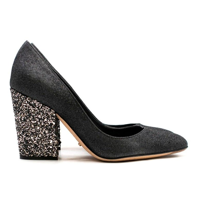 d3be1dd277 Sergio Rossi Black & Silver Glitter Block Heel Pumps - Glitter covered  leather - Closed,