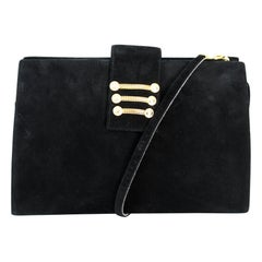 Sergio Rossi Black Suede Evening Shoulder Bag 1980s