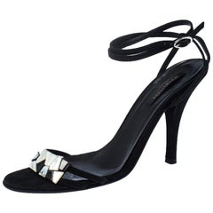 Sergio Rossi Black Suede Mother of Pearl Ankle Wrap Sandals Size 39.5