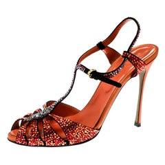 Sergio Rossi Black Suede Multicolor Crystal Embellished T Strap Sandals Size 39