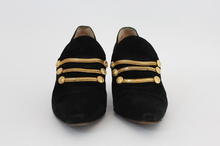 Sergio Rossi Black Suede Pumps Heel Platform Shoes 1980s In Good Condition For Sale In Brindisi, Bt