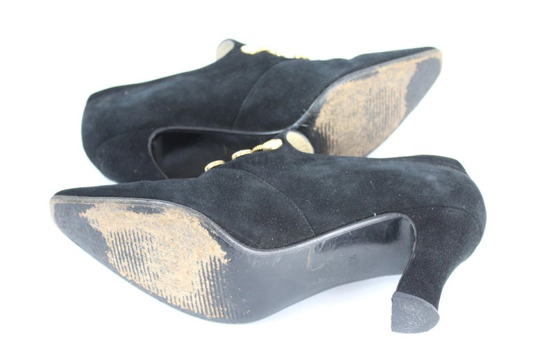 Sergio Rossi Black Suede Pumps Heel Platform Shoes 1980s For Sale 4