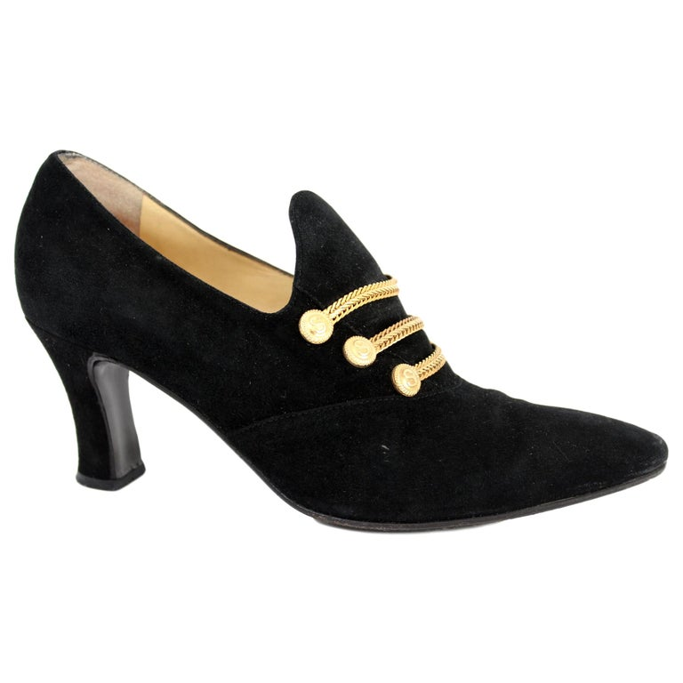 Sergio Rossi Black Suede Pumps Heel Platform Shoes 1980s For Sale