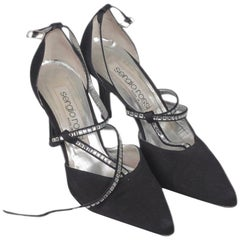 SERGIO ROSSI BlackFabric D'Orsay Shoes HEELS PUMPS with Crystals 36 IT
