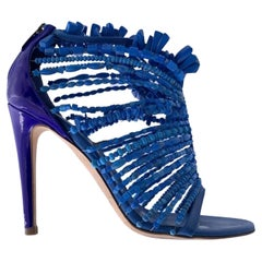 Sergio Rossi Blue Leather and Beads Cage Heeled Sandals Size 36