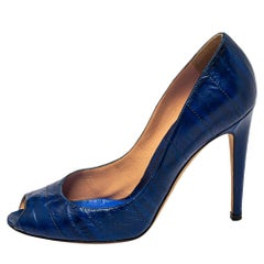 Sergio Rossi Blue Leather Peep Toe Pumps Size 39.5