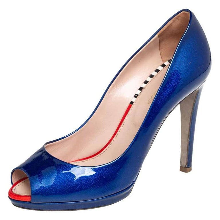 Sergio Rossi Blue Patent Leather Peep Toe Pumps Size 36 For Sale