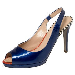 Sergio Rossi Blue Patent Leather Peep Toe Slingback Sandals Size 36