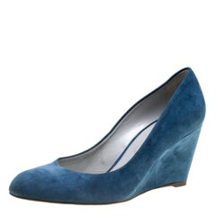 Sergio Rossi Blue Suede Wedge Pumps Size 37.5