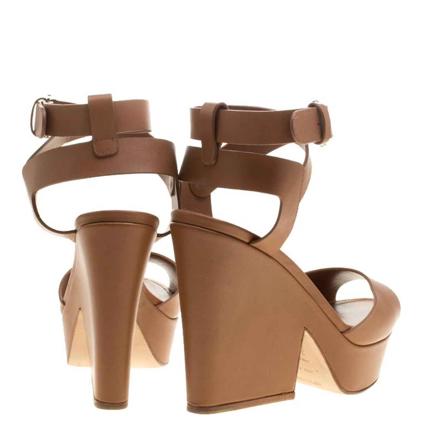 b162a65d78cc Sergio Rossi Brown Leather Ankle Wrap Block Heel Platform Sandals Size 38.5  For Sale at 1stdibs