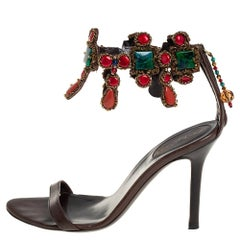 Sergio Rossi Brown Leather Embellished Sandals Size 35.5