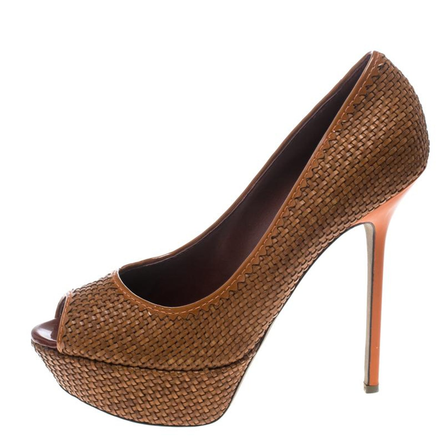 715ded1271a Sergio Rossi Brown Woven Leather Peep Toe Platform Pumps Size 41 For Sale  at 1stdibs