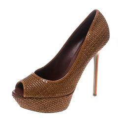Sergio Rossi Brown Woven Leather Peep Toe Platform Pumps Size 41