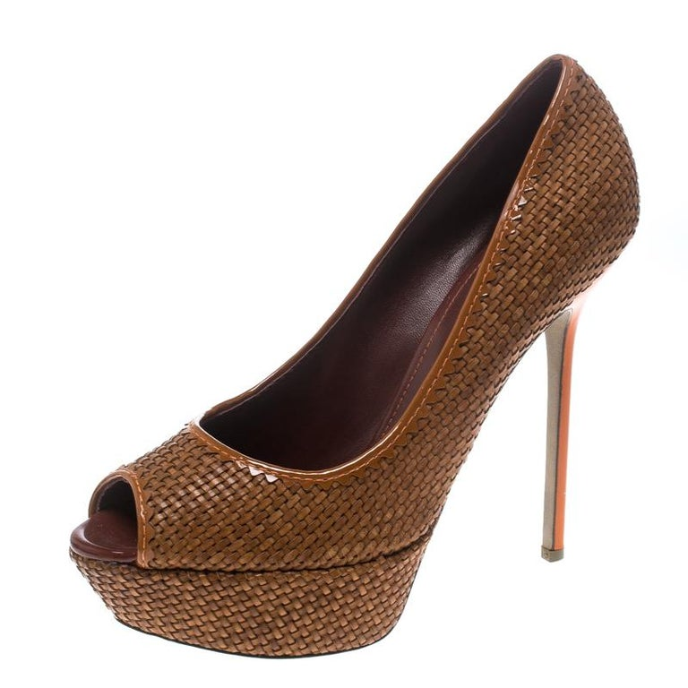 e4785fc5a06 Sergio Rossi Brown Woven Leather Peep Toe Platform Pumps Size 41