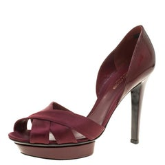 Sergio Rossi Burgundy Patent Leather and Satin D'orsay Pumps Size 38.5