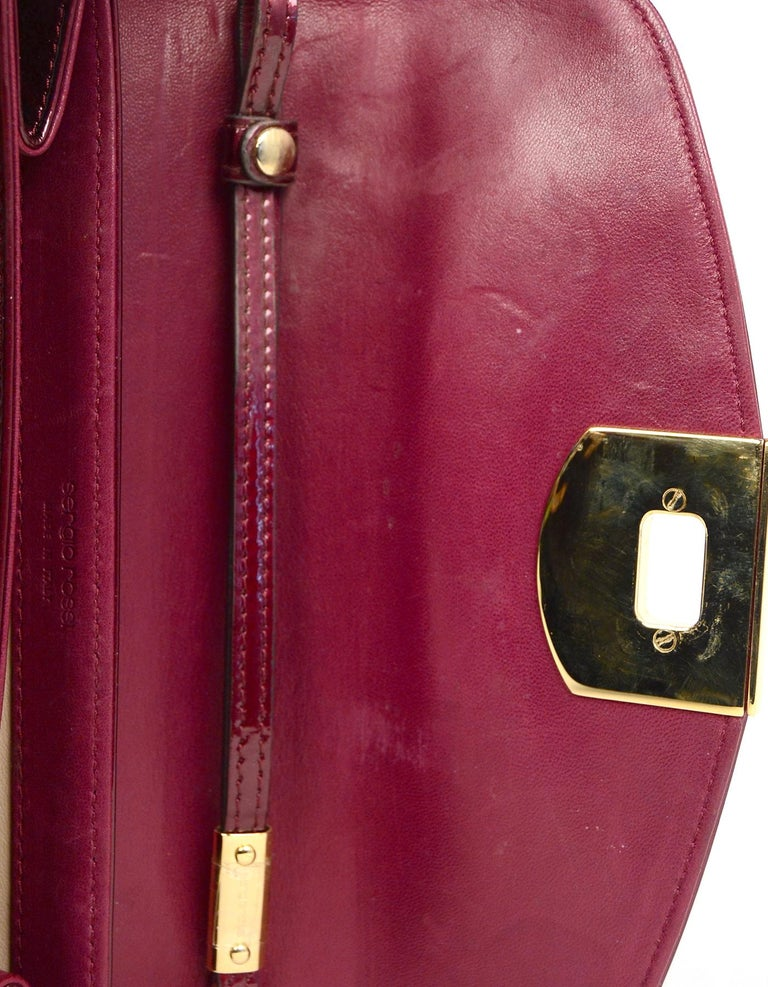 Sergio Rossi Burgundy Patent Leather Clutch W/ Wrist Strap For Sale 5