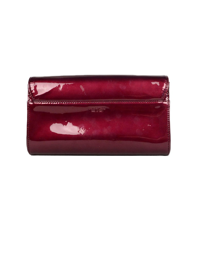 Red Sergio Rossi Burgundy Patent Leather Clutch W/ Wrist Strap For Sale