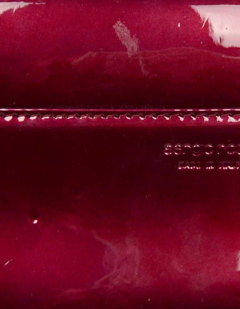 Sergio Rossi Burgundy Patent Leather Clutch W/ Wrist Strap For Sale 3