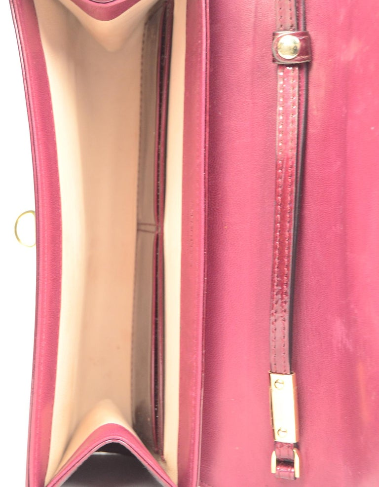 Sergio Rossi Burgundy Patent Leather Clutch W/ Wrist Strap For Sale 4