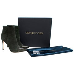 Sergio Rossi Dark Green Suede Ankle Boots 38.5