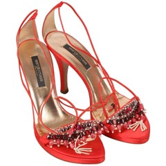 Sergio Rossi Embellished Satin Heeled Sandals Size 37.5