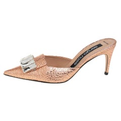 Sergio Rossi Gold Leather Crystal-embellished Mules Sandals Size 36.5