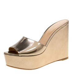 Sergio Rossi Gold Patent Leather Lakeesha Wedge Slides Size 41