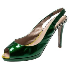 Sergio Rossi Green Patent Leather Peep Toe Slingback Sandals Size 37