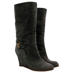 Sergio Rossi Grey Suede Wedge Boots - Size EU 41