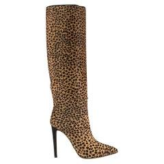 Sergio Rossi Leopard Print Calf Hair Boots