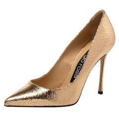 Sergio Rossi Metallic Bronze Texture Leather Pointed Toe Pumps Size 36