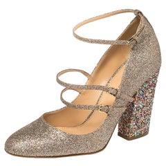 Sergio Rossi Multicolor Glitter Mary Jane Pumps Size 38