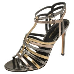 Sergio Rossi Multicolor Patent Leather Strappy Cage Sandals Size 35