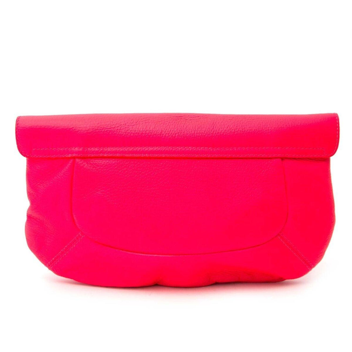 top-rated authentic top-rated newest huge discount Sergio Rossi Neon Pink Clutch