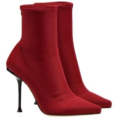 Sergio Rossi NEW Booties SR MILANO Red Mixed fabric Boots Size 37