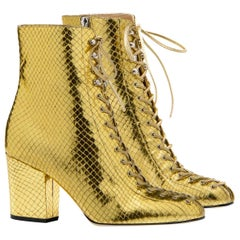 Sergio Rossi NEW Booties VIRGINIA DIVA Gold Leather Boots Size 38.5