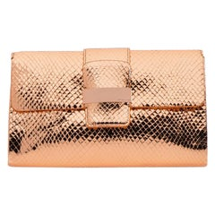 Sergio Rossi NEW Clutches SR1 CLUTCH Gold rose Leather Bag Purse