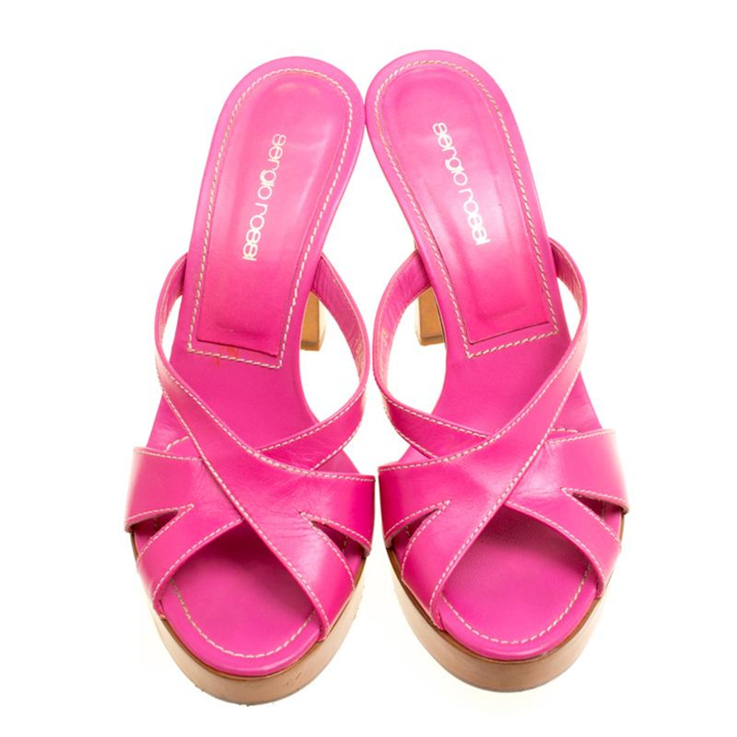 862c82c5758 Sergio Rossi Pink Leather Peep Toe Platform Slides Size 38 For Sale at  1stdibs