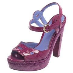 Sergio Rossi Purple Patent Leather Wooden Platform Ankle Strap Sandals Size 36